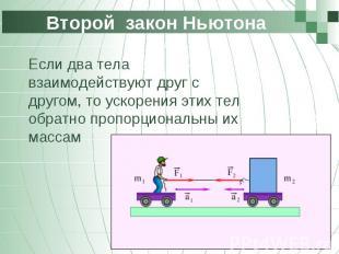 Второй закон Ньютона Если два тела взаимодействуют друг с другом, то ускорения э