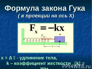 Формула закона Гука ( в проекции на ось Х)
