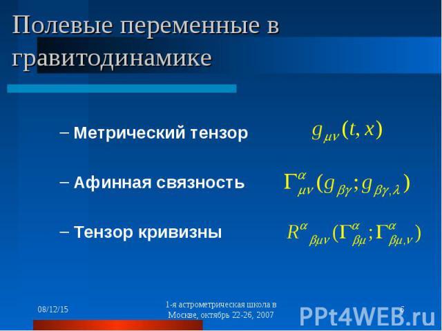 Метрический тензор Афинная связность Тензор кривизны