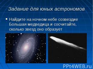 Найдите на ночном небе созвездие Большая медведица и сосчитайте, сколько звезд о