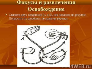 Свяжите двух товарищей (А и Б), как показано на рисунке. Попросите их разойтись