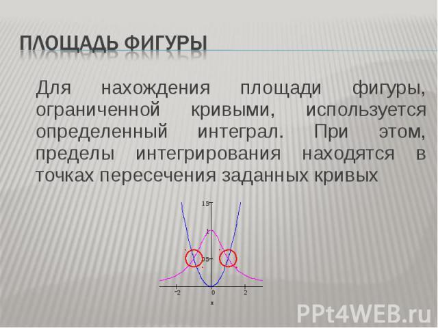 Для нахождения площади фигуры, ограниченной кривыми, используется определенный интеграл. При этом, пределы интегрирования находятся в точках пересечения заданных кривых Для нахождения площади фигуры, ограниченной кривыми, используется определенный и…
