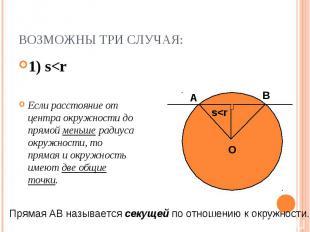 1) s<r 1) s<r Если расстояние от центра окружности до прямой меньше радиус