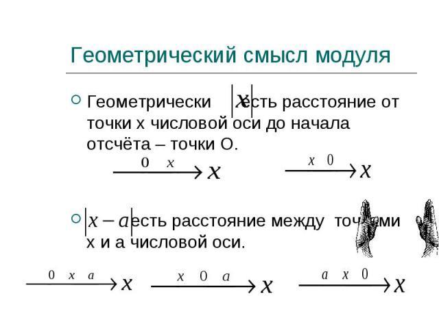 Геометрически есть расстояние от точки х числовой оси до начала отсчёта – точки О. Геометрически есть расстояние от точки х числовой оси до начала отсчёта – точки О. есть расстояние между точками х и а числовой оси.