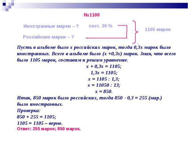 Пусть в альбоме было х российских марок, тогда 0,3х марок было Пусть в альбоме было х российских марок, тогда 0,3х марок было иностранных. Всего в альбоме было (х +0,3х) марок. Зная, что всего было 1105 марок, составим и решим уравнение. х + 0,3х = …