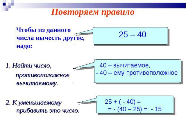 Чтобы из данного числа вычесть другое, надо: Чтобы из данного числа вычесть другое, надо: 1. Найти число, противоположное вычитаемому. 2. К уменьшаемому прибавить это число.