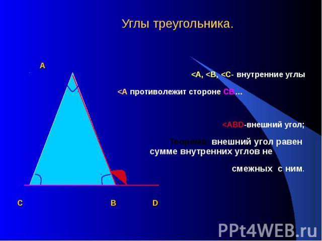Углы треугольника. А <А, <В, <С- внутренние углы <А противолежит стороне СВ… <АВD-внешний угол; Теорема: внешний угол равен сумме внутренних углов не смежных с ним. С В D