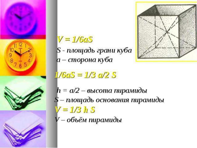 V = 1/6aS V = 1/6aS S - площадь грани куба а – сторона куба 1/6aS = 1/3 а/2 S h = а/2 – высота пирамиды S – площадь основания пирамиды V = 1/3 h S V – объём пирамиды