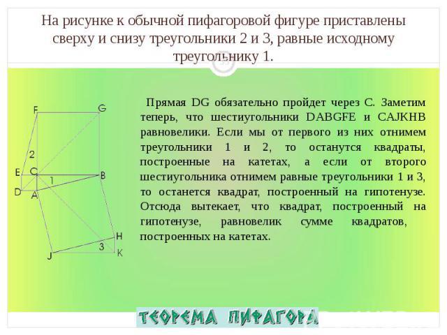 Прямая DG обязательно пройдет через C. Заметим теперь, что шестиугольники DABGFE и CAJKHB равновелики. Если мы от первого из них отнимем треугольники 1 и 2, то останутся квадраты, построенные на катетах, а если от второго шестиугольника отнимем равн…