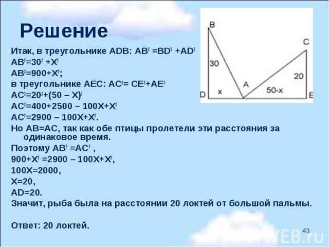 Итак, в треугольнике АDВ: АВ2 =ВD2 +АD2 АВ2=302 +Х2 АВ2=900+Х2; в треугольнике АЕС: АС2= СЕ2+АЕ2 АС2=202+(50 – Х)2 АС2=400+2500 – 100Х+Х2 АС2=2900 – 100Х+Х2. Но АВ=АС, так как обе птицы пролетели эти расстояния за одинаковое время. Поэ…