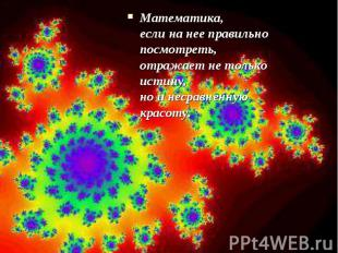 Математика, если на нее правильно посмотреть, отражает не только истину, но и не