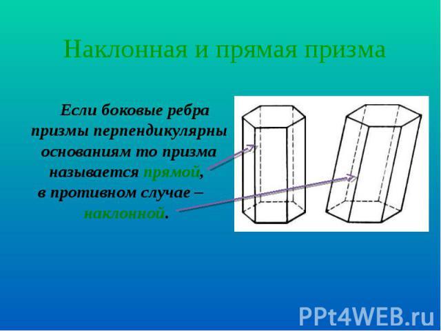 Если боковые ребра призмы перпендикулярны основаниям то призма называется прямой, Если боковые ребра призмы перпендикулярны основаниям то призма называется прямой, в противном случае – наклонной.