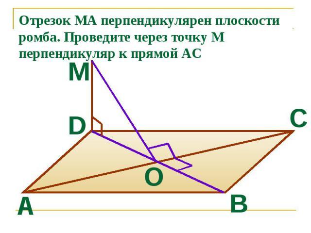 Отрезок МА перпендикулярен плоскости ромба. Проведите через точку М перпендикуляр к прямой AC