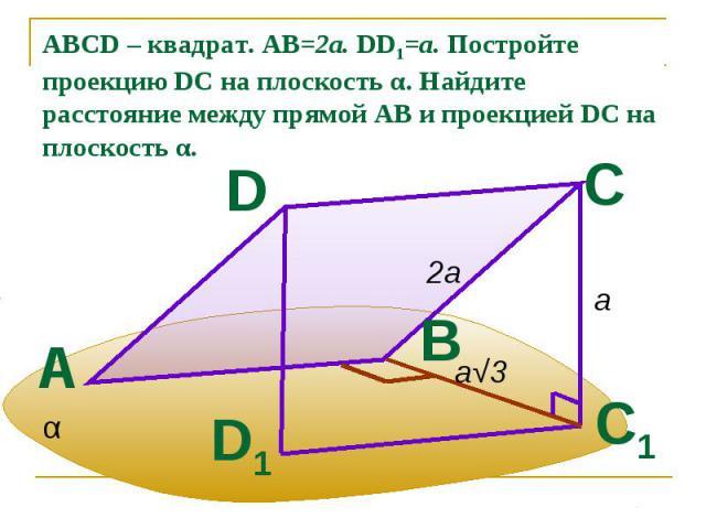 ABCD – квадрат. АВ=2а. DD1=a. Постройте проекцию DC на плоскость α. Найдите расстояние между прямой АВ и проекцией DC на плоскость α.