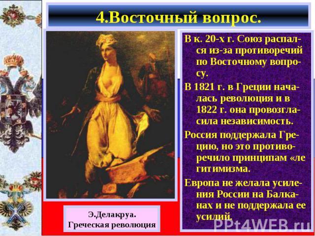 В к. 20-х г. Союз распал-ся из-за противоречий по Восточному вопро-су. В к. 20-х г. Союз распал-ся из-за противоречий по Восточному вопро-су. В 1821 г. в Греции нача-лась революция и в 1822 г. она провозгла-сила независимость. Россия поддержала Гре-…