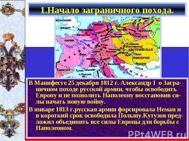 В Манифесте 25 декабря 1812 г. Александр I о Загра-ничном походе русской армии, чтобы освободить Европу и не позволить Наполеону восстановив си-лы начать новую войну. В Манифесте 25 декабря 1812 г. Александр I о Загра-ничном походе русской армии, чт…