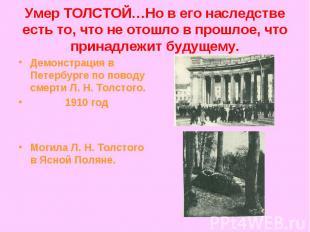 Демонстрация в Петербурге по поводу смерти Л. Н. Толстого. Демонстрация в Петерб