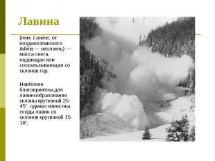 (нем. Lawine, от позднелатинского labina — оползень) — масса снега, падающая или