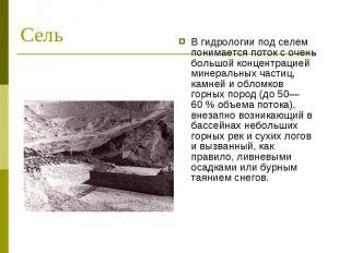 В гидрологии под селем понимается поток с очень большой концентрацией минеральны