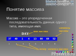 Массив – это упорядоченная последовательность данных одного типа, имеющая имя. М