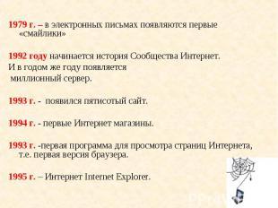 1979 г. – в электронных письмах появляются первые «смайлики» 1979 г. – в электро