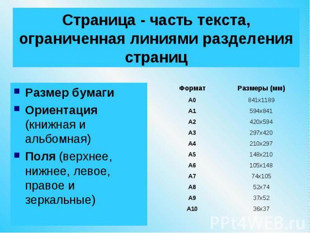 Страница - часть текста, ограниченная линиями разделения страниц Размер бумаги Ориентация (книжная и альбомная) Поля (верхнее, нижнее, левое, правое и зеркальные)