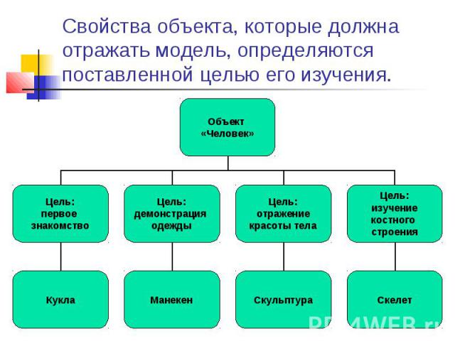 Свойства объекта, которые должна отражать модель, определяются поставленной целью его изучения.