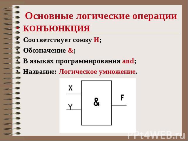 Основные логические операции КОНЪЮНКЦИЯ Соответствует союзу И; Обозначение &; В языках программирования and; Название: Логическое умножение.