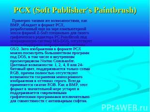 PCX (Soft Publisher's Paintbrush) Примерно такими же возможностями, как BMP, обл