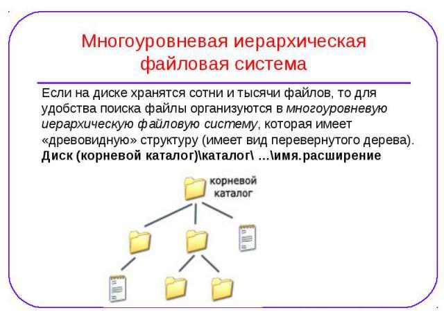 Если на диске хранятся сотни и тысячи файлов, то для Если на диске хранятся сотни и тысячи файлов, то для удобства поиска файлы организуются в многоуровневую иерархическую файловую систему, которая имеет «древовидную» структуру (имеет вид перевернут…