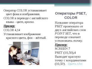 Название оператора PSET произошло от двух английских слов POINT SET, что в перев