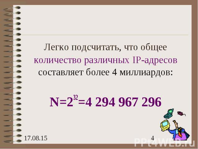 Легко подсчитать, что общее количество различных IP-адресов составляет более 4 миллиардов: N=232=4 294 967 296