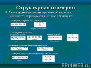 Структурная изомерия, при которой вещества различаются порядком связи атомов в м