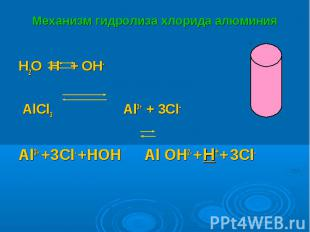 H2O H+ + OH- H2O H+ + OH- AlCl3 Al3+ + 3Cl- Al3+ +3Cl- +HOH Al OH2- +H+ + 3Cl-