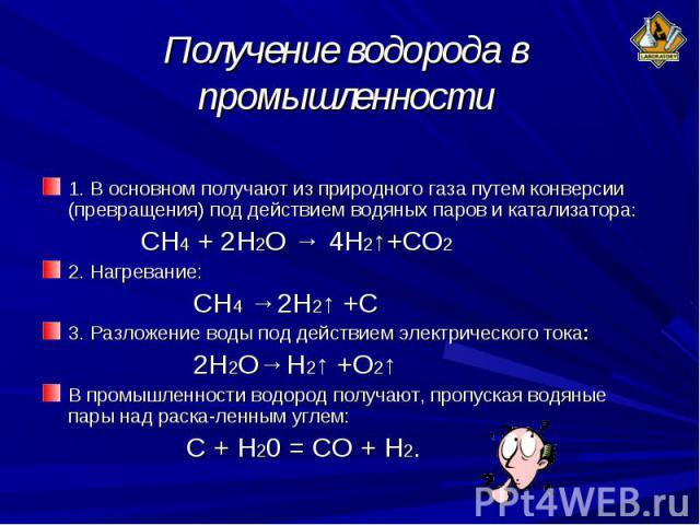 1. В основном получают из природного газа путем конверсии (превращения) под действием водяных паров и катализатора: 1. В основном получают из природного газа путем конверсии (превращения) под действием водяных паров и катализатора: СН4 + 2Н2О → 4Н2↑…
