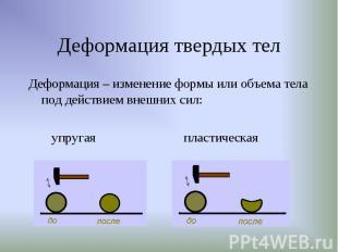 Деформация – изменение формы или объема тела под действием внешних сил: Деформац