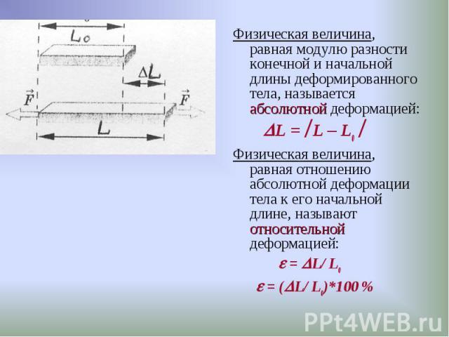 Физическая величина, равная модулю разности конечной и начальной длины деформированного тела, называется абсолютной деформацией: Физическая величина, равная модулю разности конечной и начальной длины деформированного тела, называется абсолютной дефо…