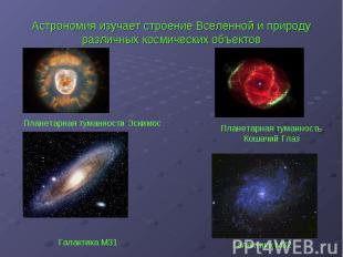 Астрономия изучает строение Вселенной и природу различных космических объектов