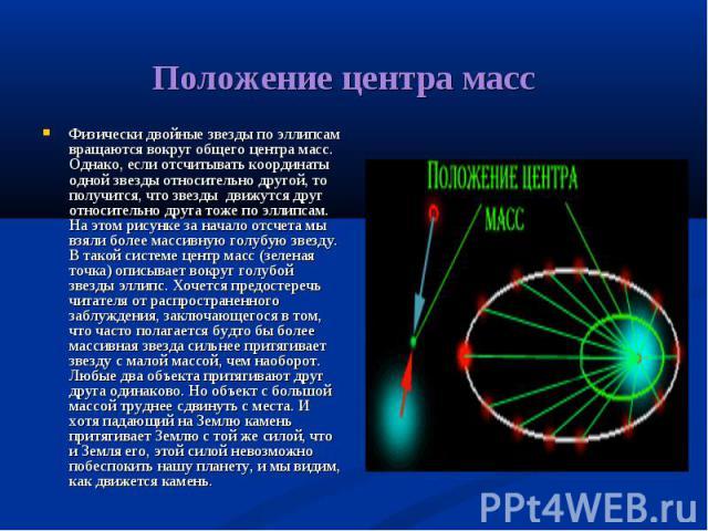 Физически двойные звезды по эллипсам вращаются вокруг общего центра масс. Однако, если отсчитывать координаты одной звезды относительно другой, то получится, что звезды движутся друг относительно друга тоже по эллипсам. На этом рисунке за начало отс…