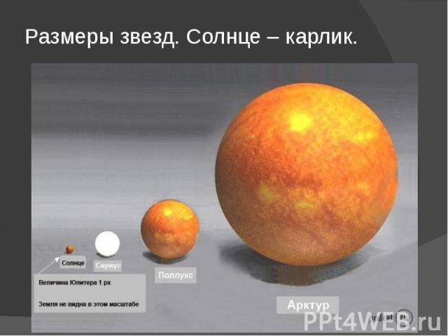 Размеры звезд. Солнце – карлик.