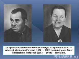 По происхождению является выходцем из крестьян: отец— Алексей Иванович Гаг