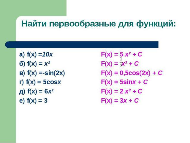 а) f(x) =10х а) f(x) =10х б) f(x) = х² в) f(x) =-sin(2x) г) f(x) = 5cosx д) f(x) = 6х² е) f(x) = 3