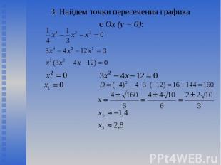 3. Найдем точки пересечения графика 3. Найдем точки пересечения графика с Ох (у