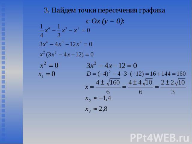 3. Найдем точки пересечения графика 3. Найдем точки пересечения графика с Ох (у = 0):