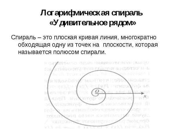 Спираль – это плоская кривая линия, многократно обходящая одну из точек на плоскости, которая называется полюсом спирали. Спираль – это плоская кривая линия, многократно обходящая одну из точек на плоскости, которая называется полюсом спирали.