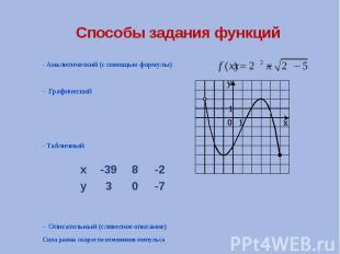 Способы задания функций - Аналитический (с помощью формулы) - Графический - Табл