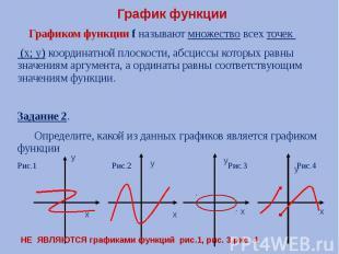 График функции Графиком функции f называют множество всех точек (х; у) координат