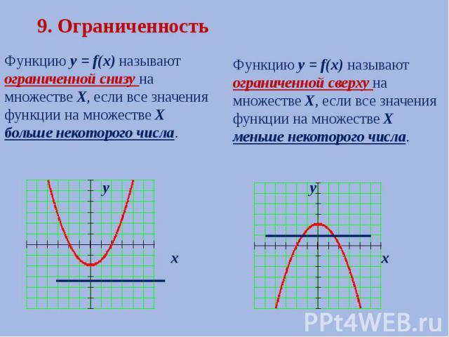 9. Ограниченность Функцию у = f(х) называют ограниченной снизу на множестве Х, если все значения функции на множестве Х больше некоторого числа.