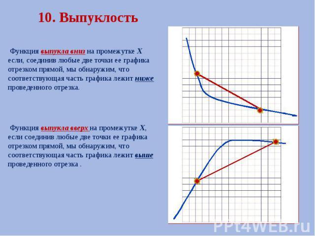 10. Выпуклость Функция выпукла вниз на промежутке Х если, соединив любые две точки ее графика отрезком прямой, мы обнаружим, что соответствующая часть графика лежит ниже проведенного отрезка. Функция выпукла вверх на промежутке Х, если соединив любы…