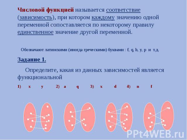 Числовой функцией называется соответствие (зависимость), при котором каждому значению одной переменной сопоставляется по некоторому правилу единственное значение другой переменной. Числовой функцией называется соответствие (зависимость), при котором…